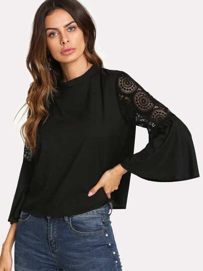 Lace Panel Sleeve Tie Back Top