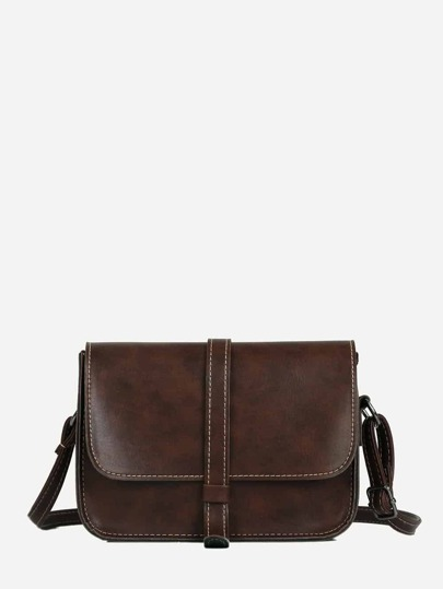 Contrast Stitch Trim Shoulder Bag