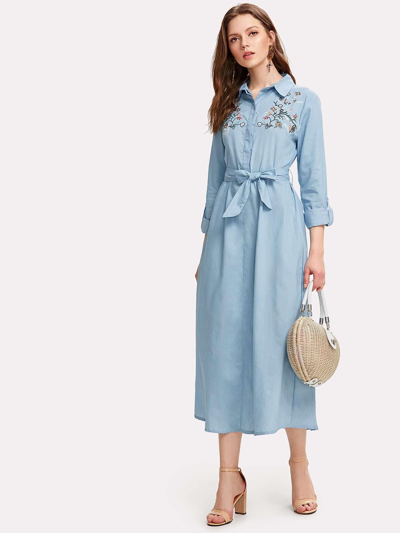 Flower Embroidery Self Belted Shirt Dress pu belted tartan shirt