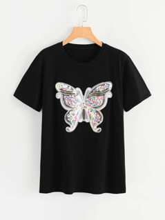 Sequin Butterfly Embellished T-shirt