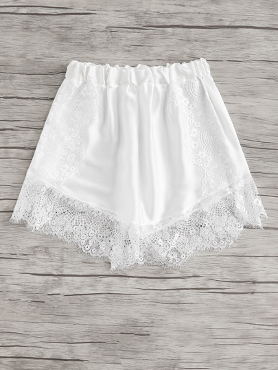 Lace Hem Satin Shortie Shorts