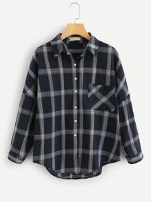 Drop Shoulder Chest Pocket Dip Hem Shirt