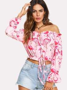 Flamingos Print Tie Waist Blouse