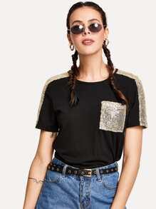 Contrast Sequin T-shirt