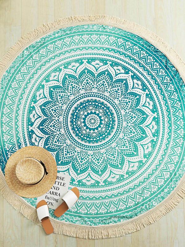 Mandala Print Fringe Trim Round Beach Blanket, null
