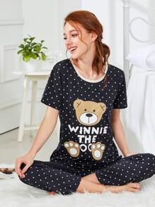 Bear & Dot Print Pajama Set