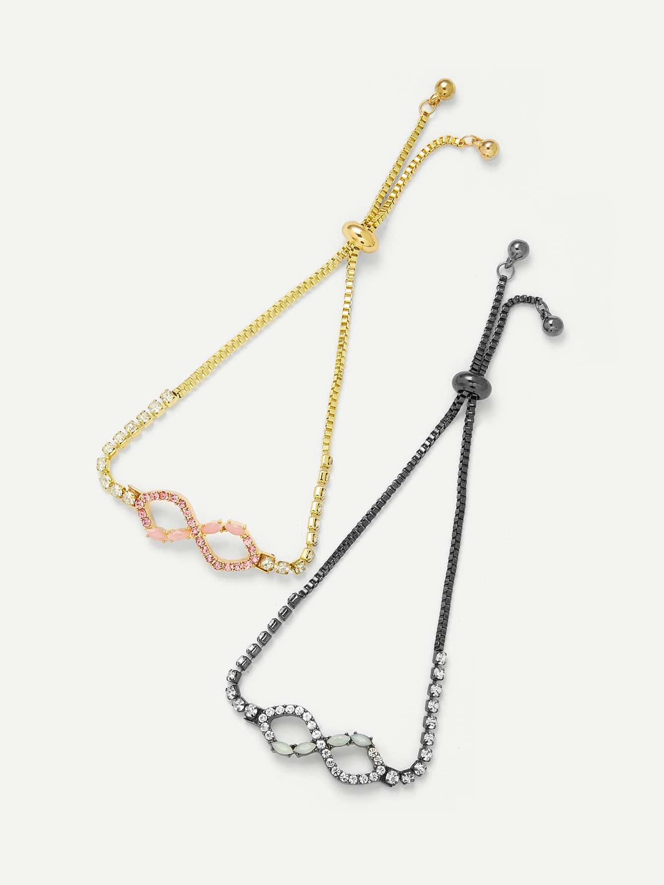 Letter Eight Design Chain Bracelet Set wing design chain bracelet