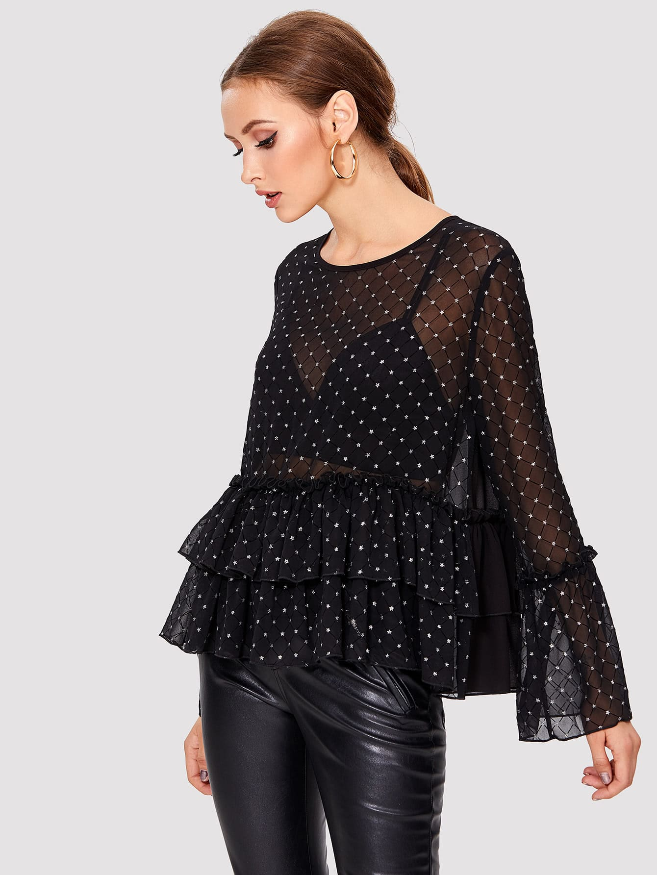 Star Print Frill Detail Tiered Top frill detail crochet insert embroidered mesh top