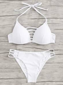 Laddering Cut Solid Bikini Set