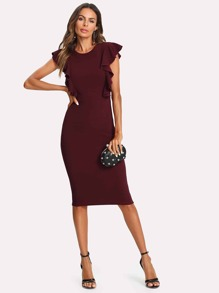 Ruffle Trim Pencil Dress