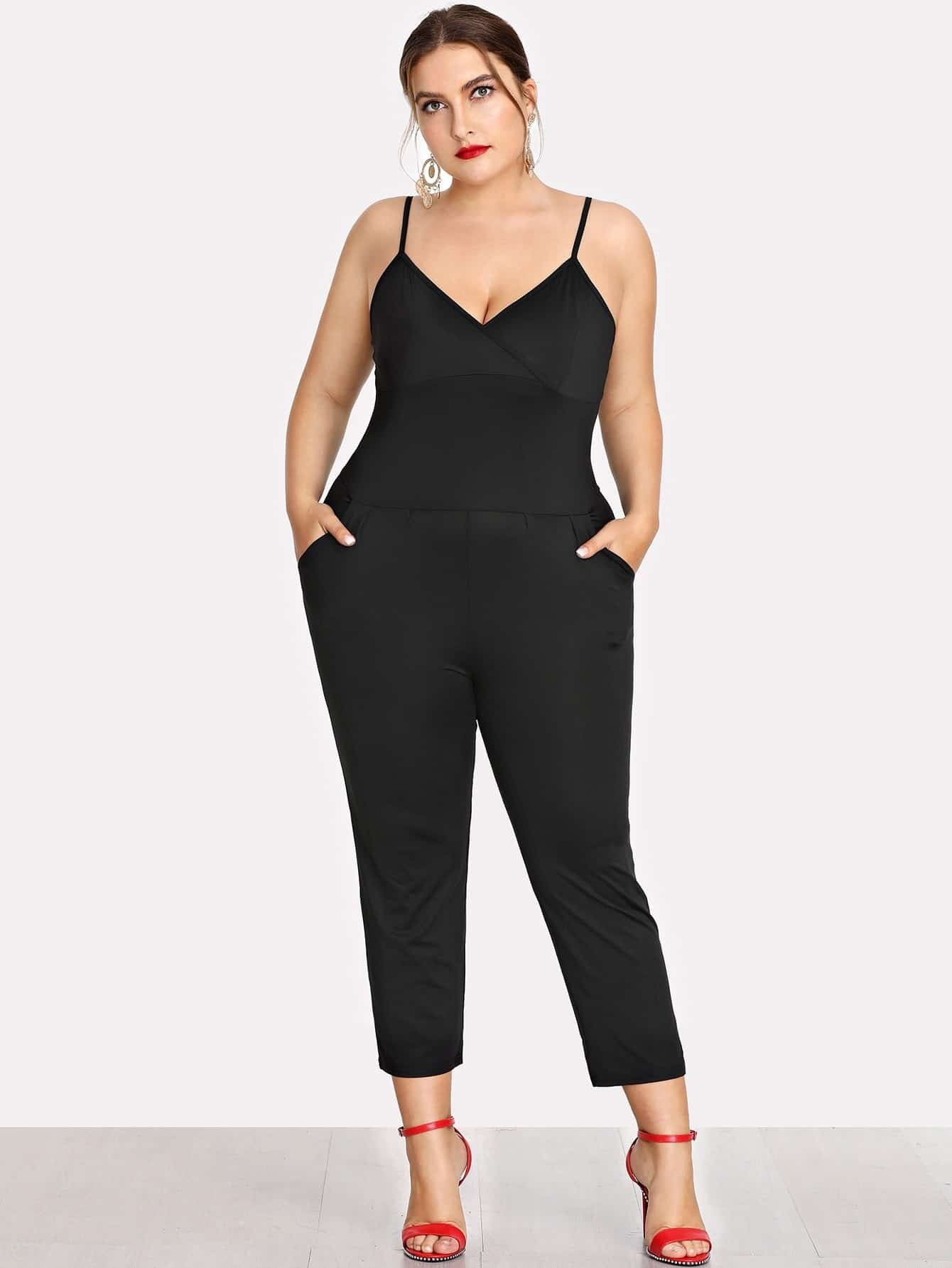 Plus Surplice Neckline Cami Jumpsuit