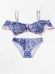 Flower Print Flounce Bikini Set