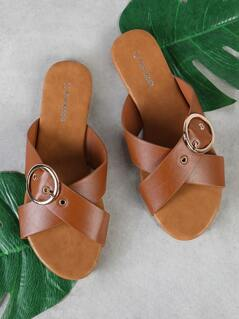 Criss Cross Buckled Strap Slide Sandal TAN