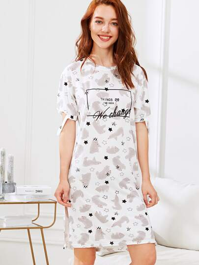 Bear & Letter Print Nightdress