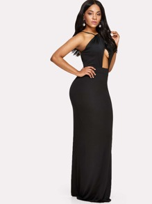 Cut Out Front Split Backless Dress