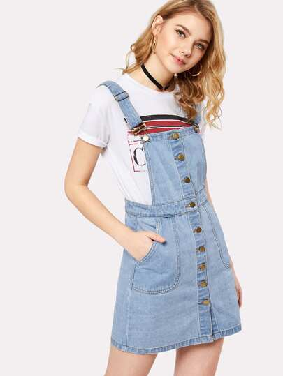 Button Front Overall Denim Dress