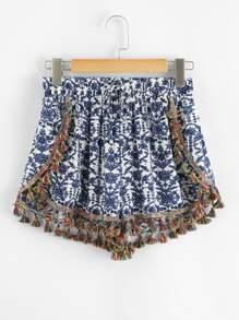 Flower Print Tassel Detail Shorts
