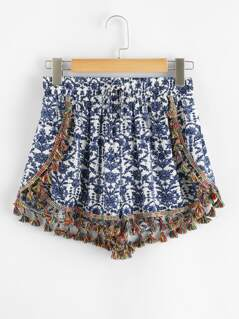 Flower Print Tassel Detail Shorts