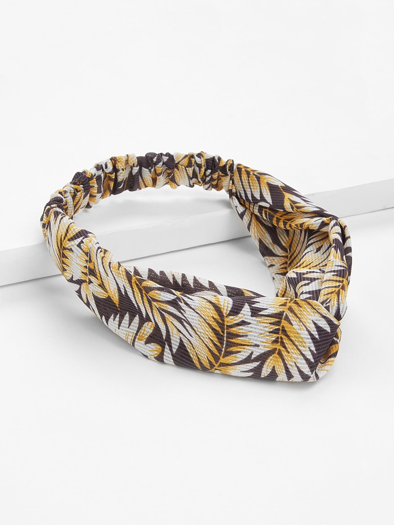 Leaf Print Twist Headband tropical print twist headband