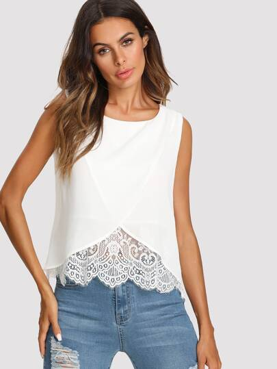 Lace Insert Wrap Front Top