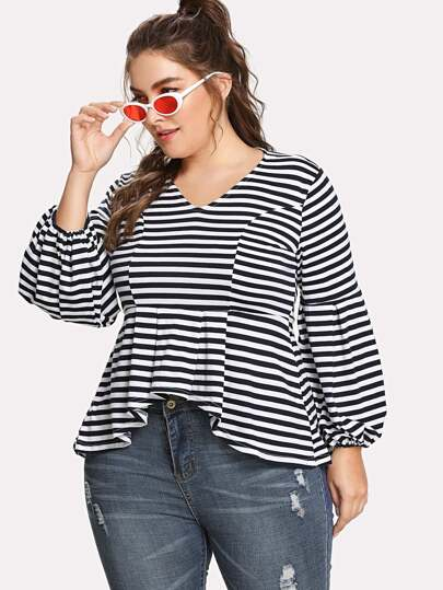Bishop Sleeve Pleated Asymmetric Striped Top