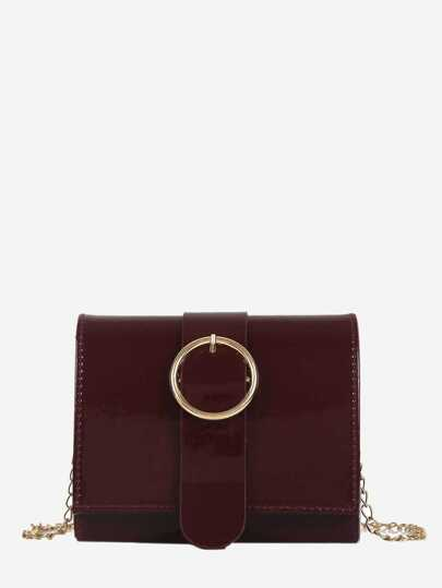 Ring Detail Flap Chain Bag