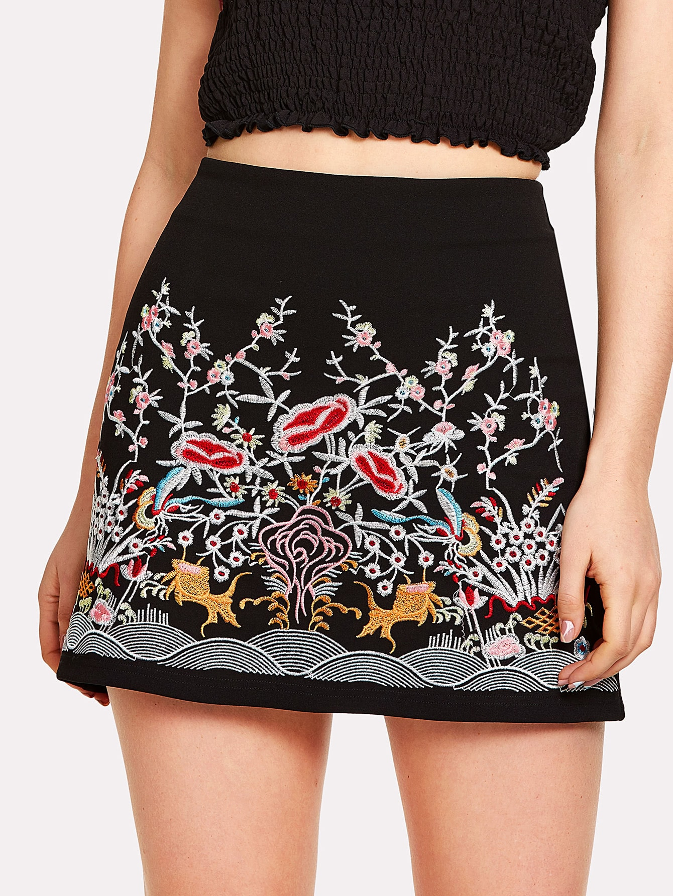 Flower Embroidery Zip Up Skirt botanical embroidery zip back skirt