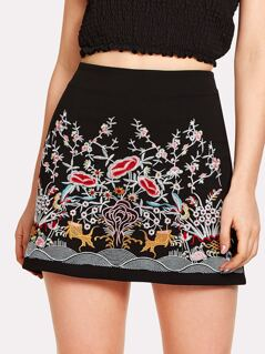 Flower Embroidery Zip Up Skirt