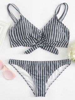 Twist Front Striped Bikini Set