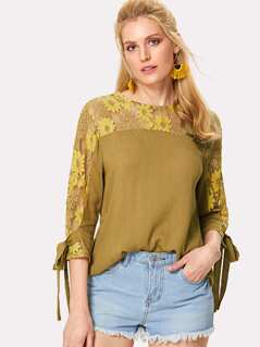 Floral Lace Shoulder Tied Cuff Top