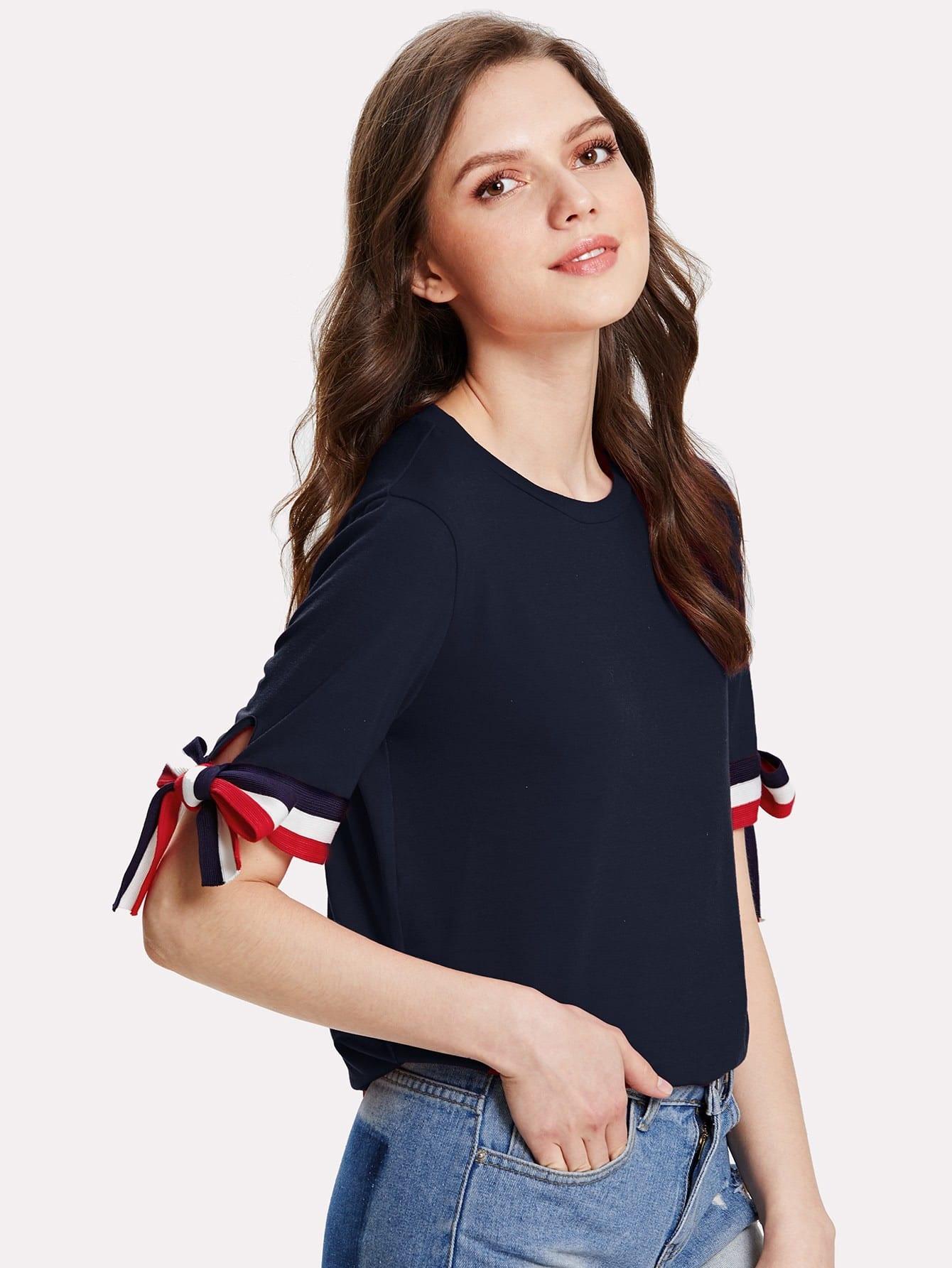 Купить Контрастная футболка черная, Muffy, SheIn