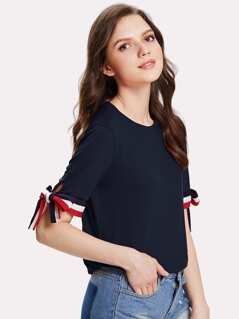 Knotted Striped Cuff T-shirt