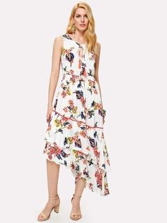 Tassel Tie Layered Asymmetric Botanical Dress