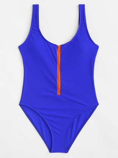 Zipper Front Low Back Swimsuit