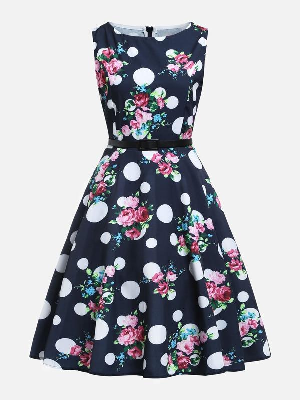 Polka Dot Florals Circle Dress, null