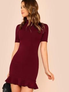 Mock Neck Solid Slim Fitted Dress
