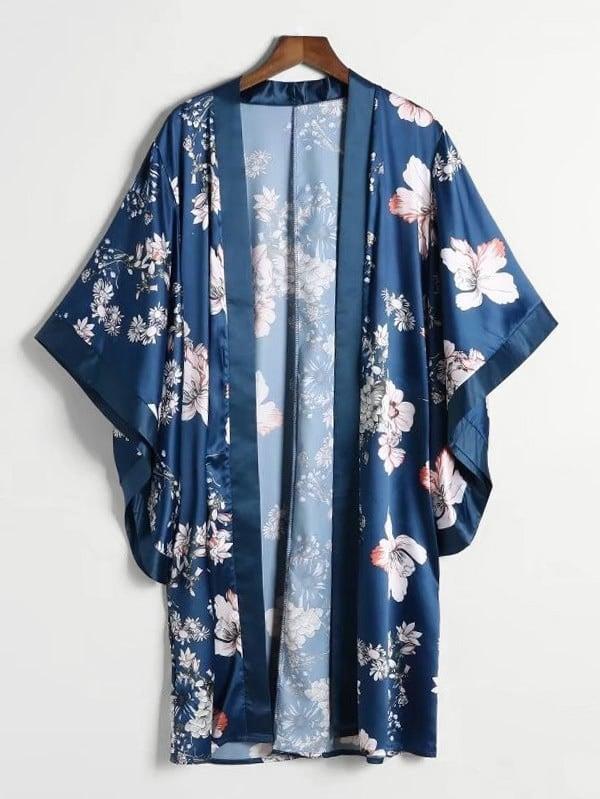 Random Florals Satin Kimono