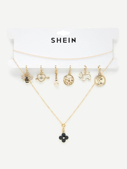 Chain Necklace With 7pcs Replaceable Charm