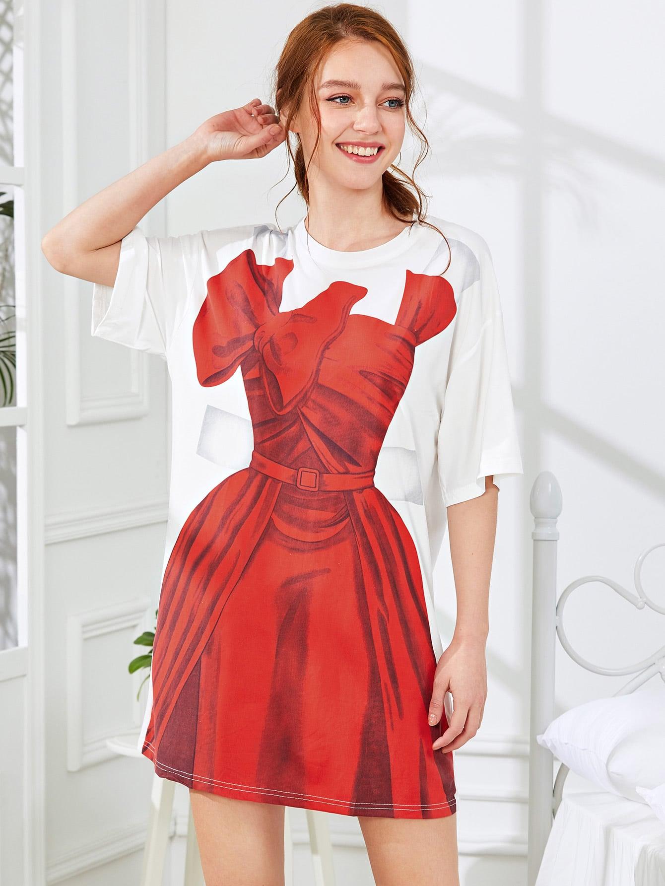 Dress Print Drop Shoulder Nightdress two tone drop shoulder sweatshirt