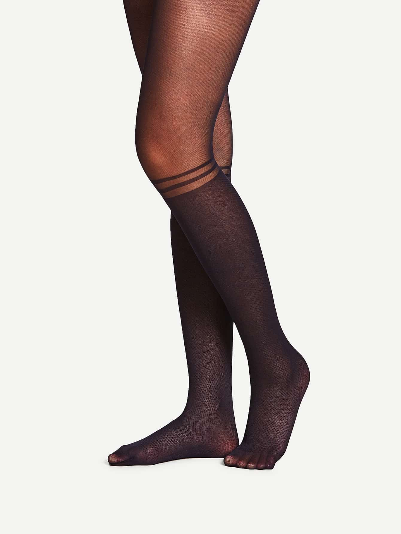 Two Tone Striped Tights 20d striped mesh tights