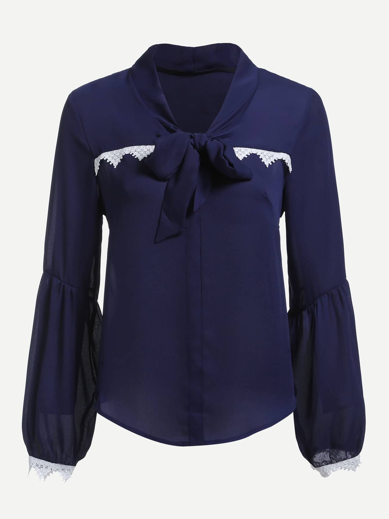 все цены на Contrast Lace Trim Bishop Sleeve Tie Neck Shirt