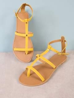 Nubuck Strappy Ankle Strap Sandal YELLOW