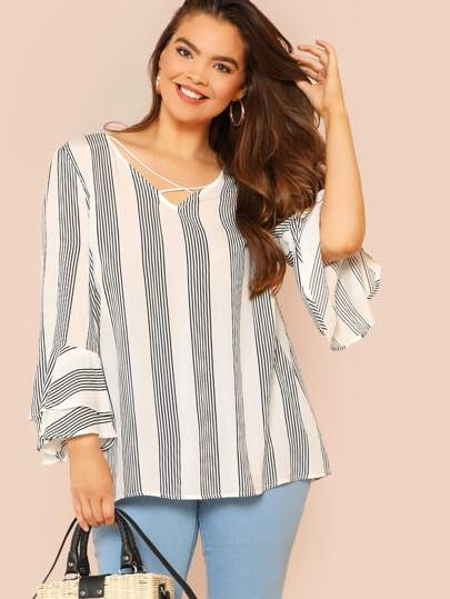 Criss Cross Front Flounce Sleeve Striped Blouse