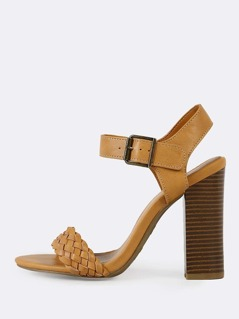 Weaved Single Band Ankle Strap Chunky Heel NATURAL