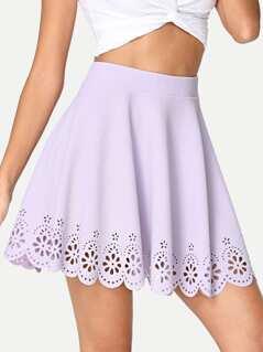 Laser Cut Flared Skirt