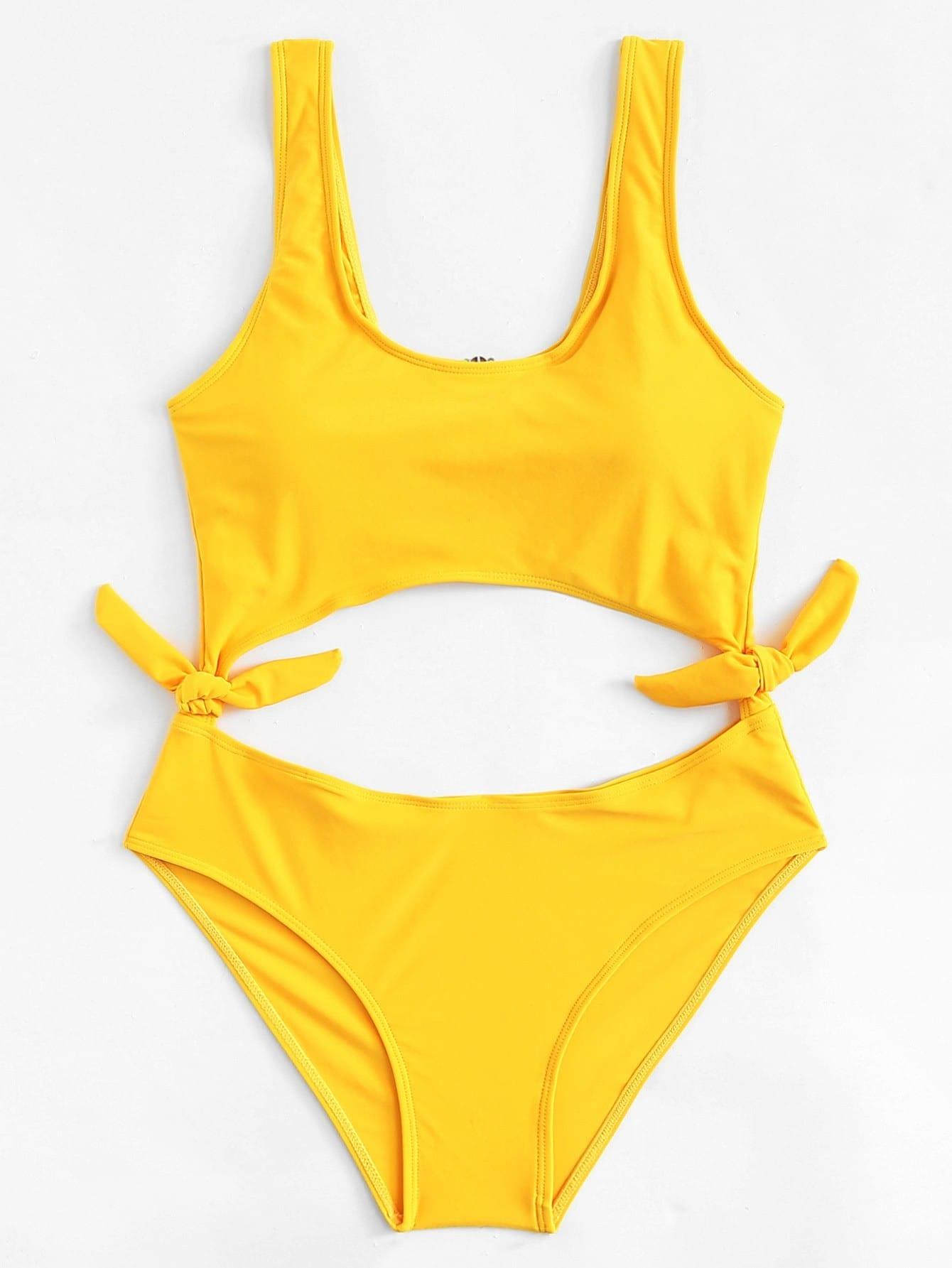 Cut Out Knot Swimsuit wrap knot swimsuit