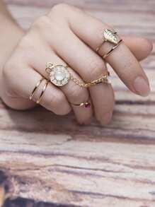 Rhinestone & Leaf Design Ring Set