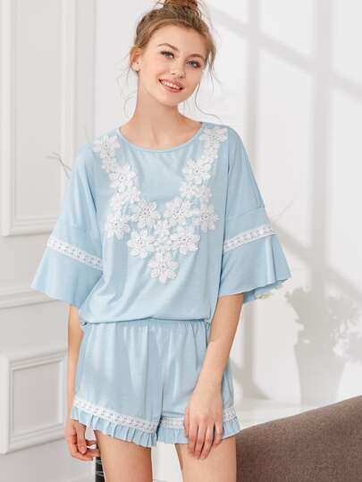 Ruffle Sleeve Lace Applique Top & Shorts PJ Set