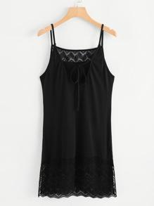 Lace Panel Tie Neck Cami Dress
