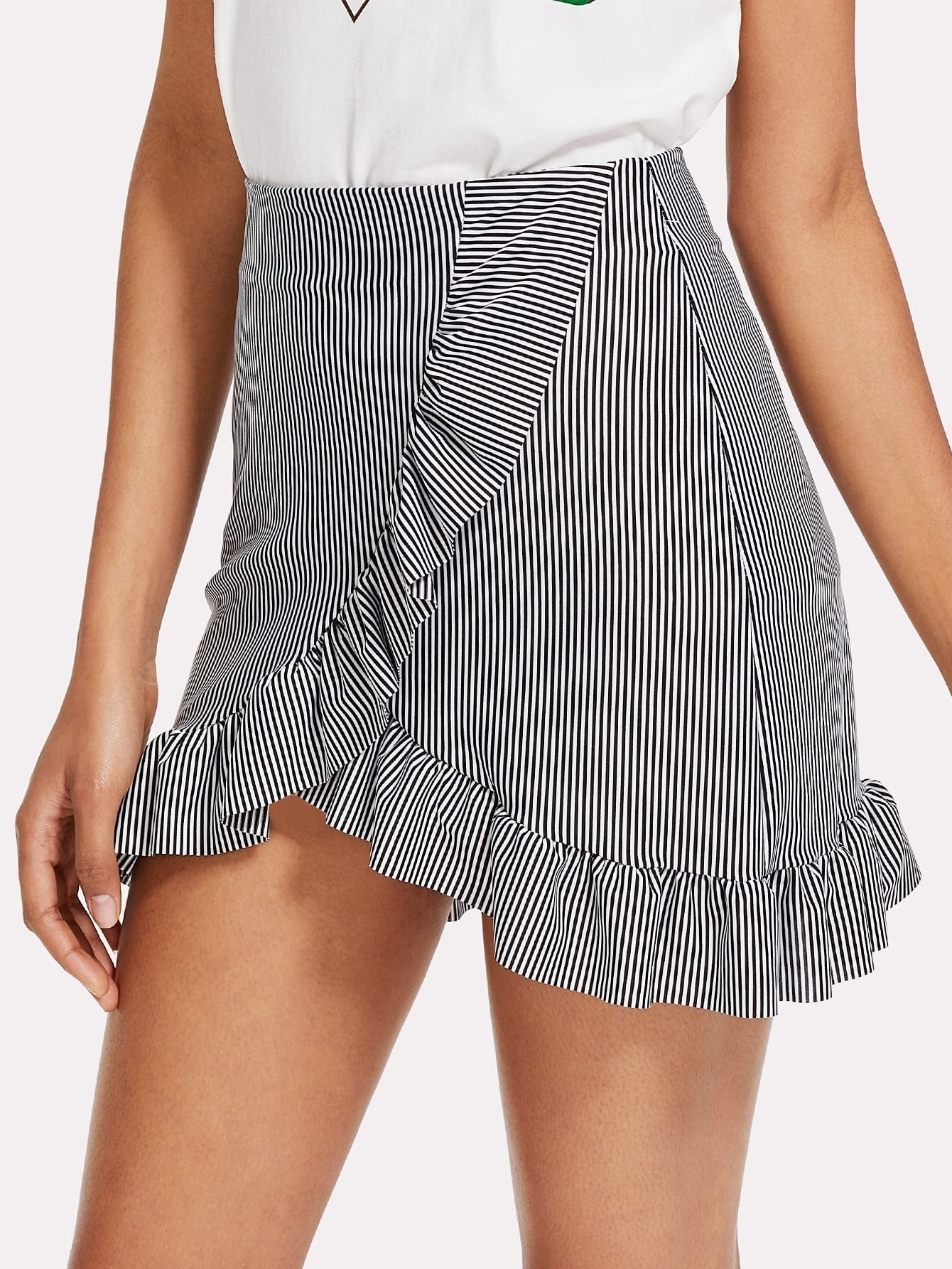 Striped Ruffle Hem Overlap Skirt striped ruffle hem overlap skirt